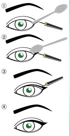 Create a winged liner using a spoon